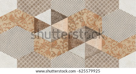 Home Decorative Oil Paint Wall Tiles Stock Illustration 625579925 ...