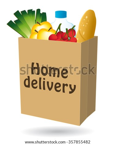 Home delivery shopping bag icon I. - stock photo
