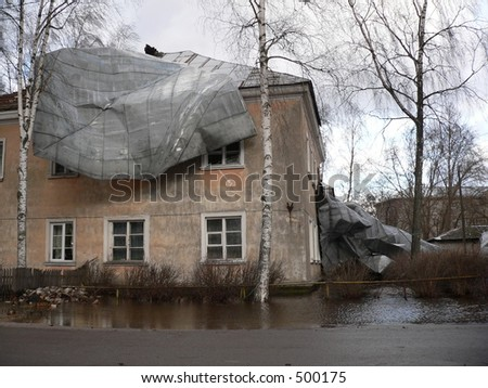 Home destroyed after the tsunami - stock photo