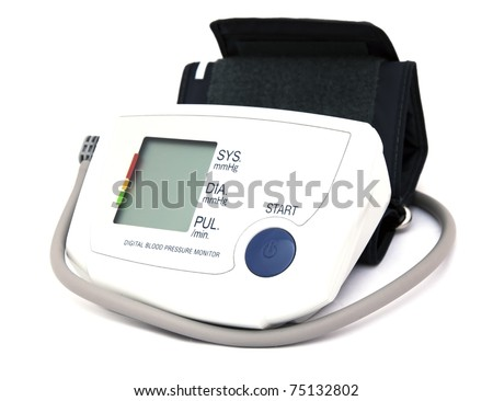 home digital blood pressure monitor isolated over white - stock photo