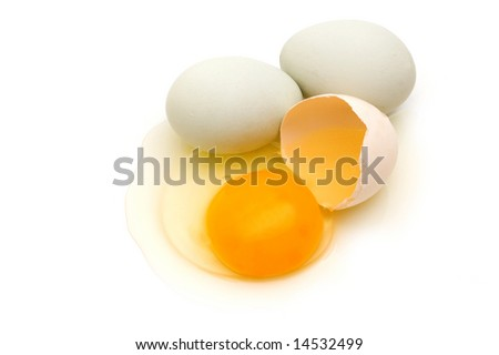 home eggs from village on white background - stock photo
