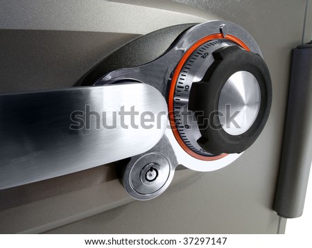 Home fire safe combination lock and handle. - stock photo