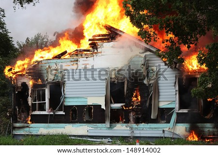 Home fire. The owner donated this 40s era home to the local fire department to use in training. - stock photo