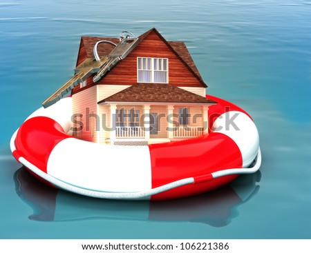 Home floating on a life preserver. Symbolizing a recovering housing economy, flood protection, home salvage , bailout, ect. - stock photo