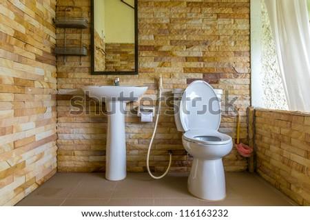 Home flush toilet. - stock photo