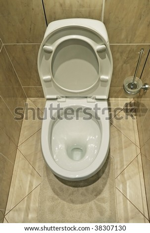 Home flush toilet top view - stock photo