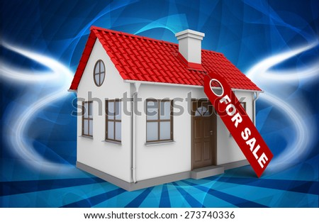 Home for sale real estate sign and small house on abstract blue background - stock photo