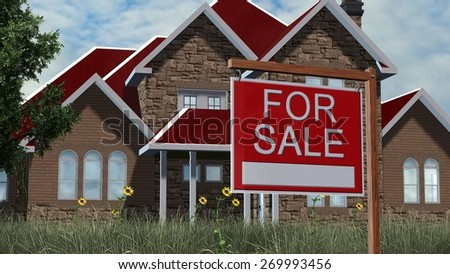 Home For Sale Real Estate Sign in Front of Beautiful House  - stock photo