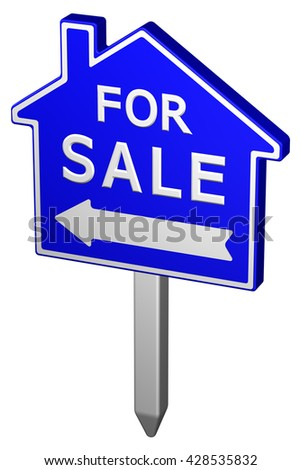 Home for sale sign, isolated on white background. 3D rendering.