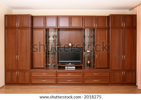 Home furniture brown color with TV