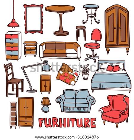 furniture sketch home furniture decorative icons set sketch stock vector 262886006