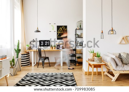 Home Furniture Of A Freelancer With Natural Eco Accessories, Wooden Desk,  Potted Plants,