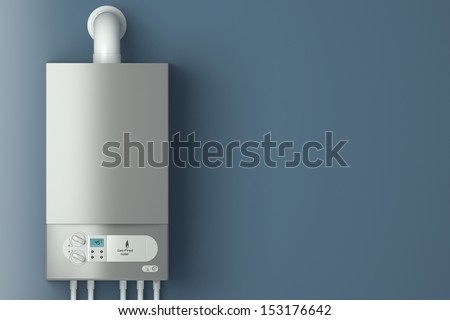 Home gas-fired boiler. The installation of gas equipment. Heating in the house. - stock photo