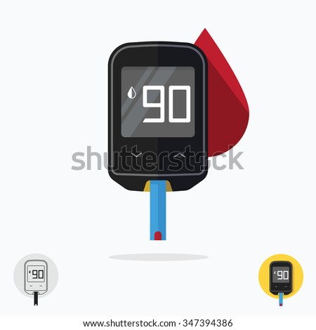Home glucometer diabetes flat pharmacy concept, medical measuring portable technology analysis hypoglycemic glycemic, glucose test tool isolated white background modern design illustration photo image - stock photo