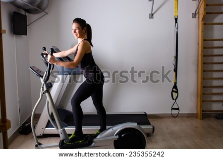 home gym with treadmill - stock photo