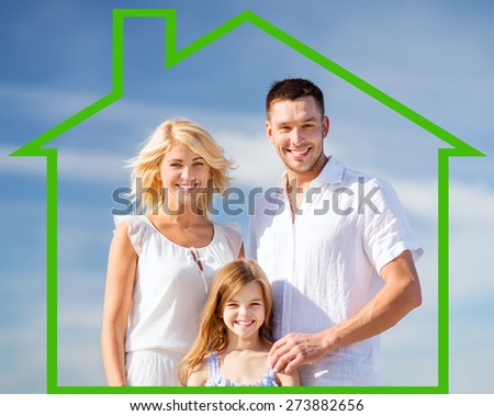 home, happiness and real estate concept - happy family over blue sky background and house shaped illustration - stock photo