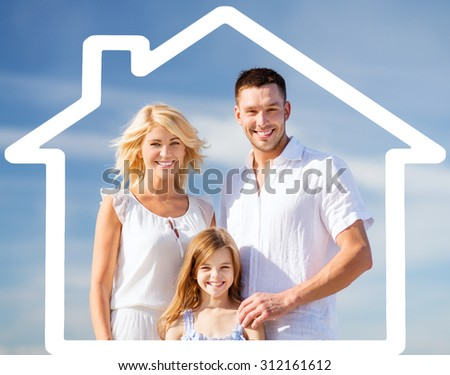 home, happiness and real estate concept - happy family over blue sky background and house shaped illustration