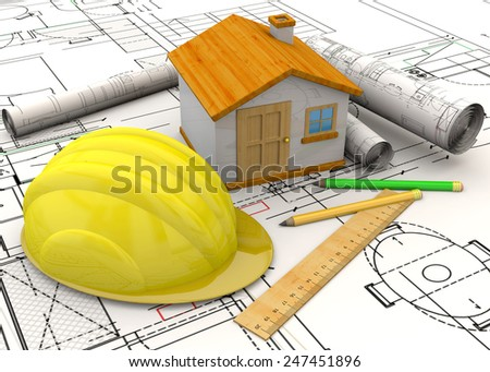 Home, helmet, pencil and ruler on the project - stock photo