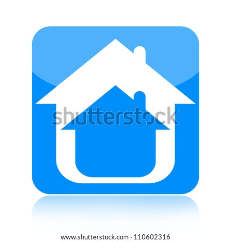 Home icon isolated on white background - stock photo