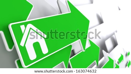 Home Icon on Green Arrow on a Grey Background. - stock photo