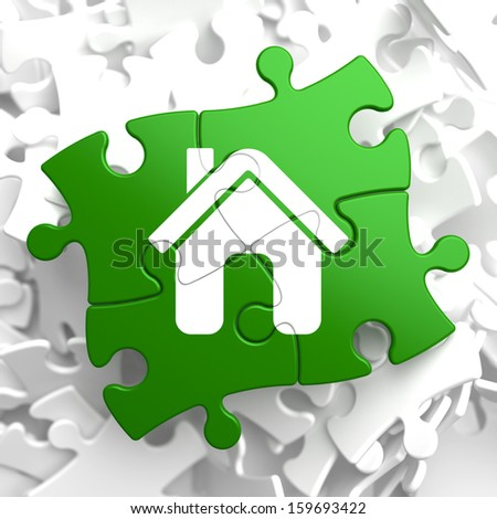 Home Icon on Green Puzzle. - stock photo