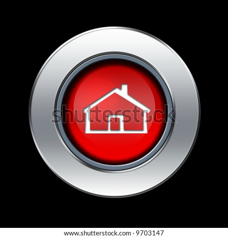 Home icon with metal border over black background - stock photo