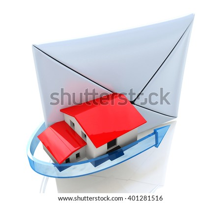 Home in Envelope, mail and communication. 3D rendered illustration - stock photo