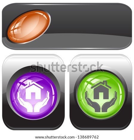 home in hands. Internet buttons. Raster illustration. Vector version is in my portfolio. - stock photo