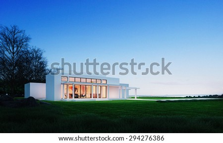 Home in the mountain sea view - 3D   image - stock photo