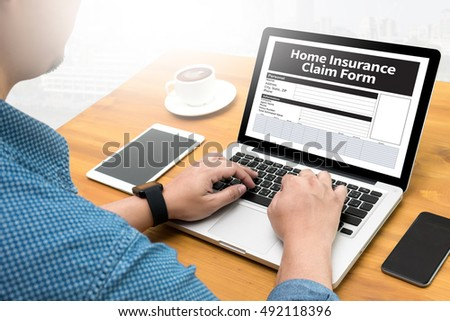 Home Insurance Claim Form Document Refund Home Insurance Computing Computer  flare sun, Cropped image male freelancer sitting at the table