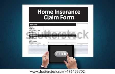 Home Insurance Claim Form Document Refund Home Insurance, on the tablet pc screen held by businessman hands - online, top view