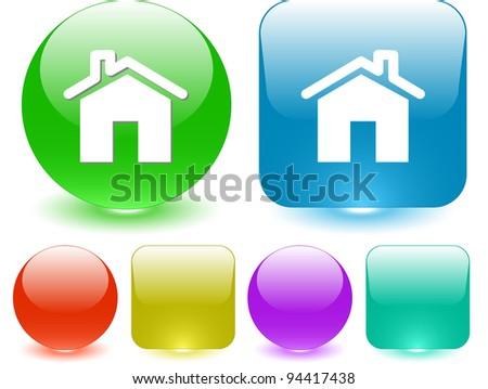 Home. Interface element. Raster illustration. - stock photo