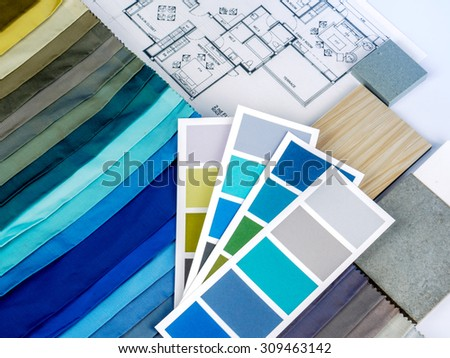 Home interior decoration and renovation planning concept - stock photo