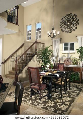 Home Interior Dinning Room Kitchen Design - stock photo