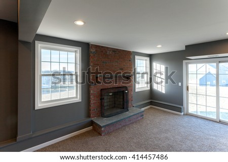 Home Interior Finished Basement - stock photo