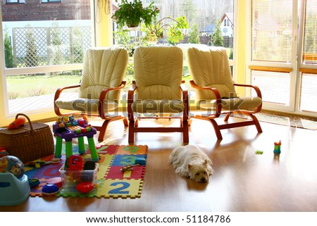 home interior in the summer house - stock photo