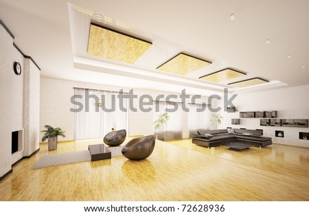 Home interior of modern apartment 3d render