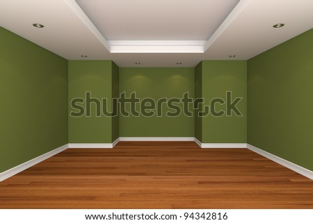 Home interior rendering with empty room decorate green color wall with wooden floors.