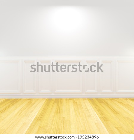 Home interior rendering with empty room white color wall and decorated with wooden floors. - stock photo