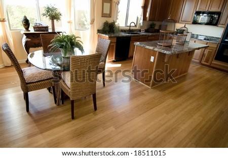 Home interior with hardwood flooring - stock photo