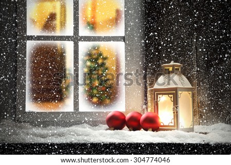home interior with xmas tree and window of lamp  - stock photo