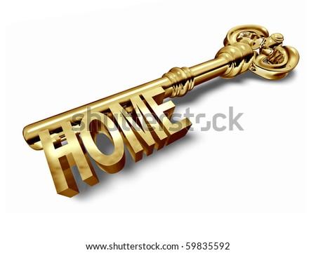 home key gold isolated on white background - stock photo