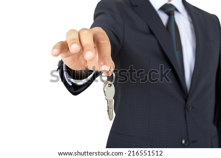 home key with hand isolated on white