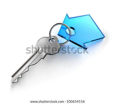 Home key with house keychain symbol - stock photo