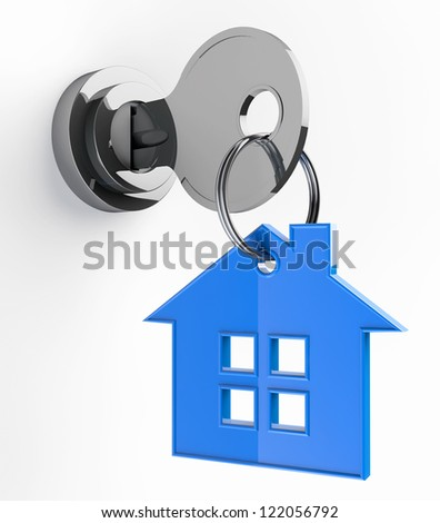 Home key with house keychain symbol on a white background - stock photo