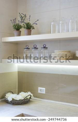 Home kitchen shelves - stock photo