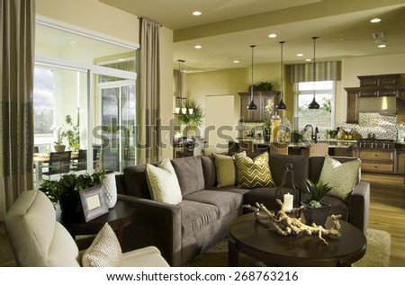 Home Living room Interior Design House Contemporary and Friendly, Family room - stock photo