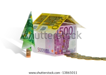 Home loan. A house made of euro banknotes. - stock photo