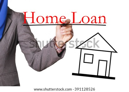 Home Loan - House with text and Businesswoman hand with pen - stock photo