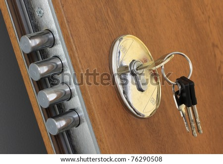 Home lock and key - stock photo